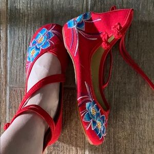 Unique embroidered red Chinese inspired booties